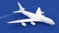 Commercial aircraft blueprint - stock photo