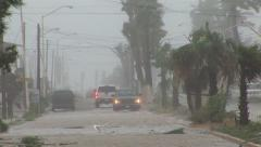 Cars driving in a Hurricane Stock Footage