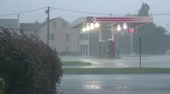 Hurricane Shakes Gas Station Stock Footage