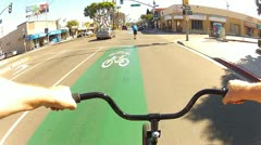 POV Riding Bike In Long Beach CA Bike Lane 3 Stock Footage