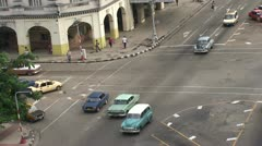 Havana, Overview from the roof, cars on the street  Stock Footage
