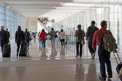 Stock Photo of airport moving crowd