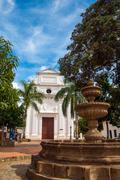 White Colonial Church and Fountain Stock Photos