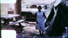 Black Family CAR CAMPING African American 1960s Vintage Film Home Movie 6229 Stock Footage