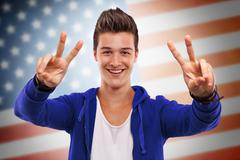 young man cheering - stock photo