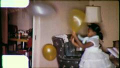 BLACK KIDS Balloon PARTY African American 1960s Vintage Film Home Movie 6232 Stock Footage