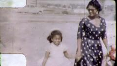 Black MOTHER DAUGHTER Fashion African American 1970 Vintage Film Home Movie 6233 - stock footage