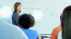 Adult Multi Ethnic Students Caucasian Lecturer - stock footage