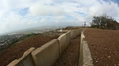 Abandoned bunker on top of Mount Bental, Golan Heights, Israel Stock Footage
