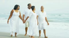 Retired Ethnic Couples Strolling Beside Ocean - stock footage