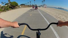 Viewpoint Bike Riding The Long Beach Bike Path Stock Footage