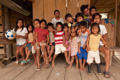 Puni Bocana, Ecuador - 23 November 2012: Group Of Local Kids From Puni Bocana Stock Photos
