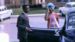 Stock Video Footage of 1st DATE COUPLE TEEN Black African American 1960s Vintage Film Home Movie 6251