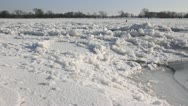 Stock Video Footage of Drifting ice on Elbe River, Flusslandschaft Elbe Biosphere Reserve, Germany