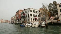 Boats and ships cruising on Venice Grand Canal Stock Footage