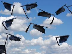 Stock Photo of Graduation caps in sky