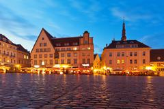Town Hall Square in the Old Town in Tallinn, Estonia Stock Photos