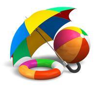 Beach items: color umbrella, ball and lifesaver - stock illustration