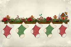 Christmas mantelpiece Stock Photos