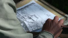 Japan tourism, drawing postcards, black coal pencil, hands, Japanese, art Stock Footage