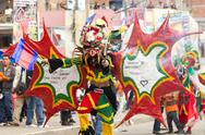 Pillaro, Ecuador - 06 February 2012: People Disguised As Devils Dancing For The Stock Photos
