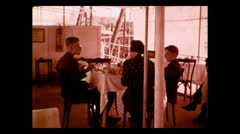 Breakfast aboard the Imperial Airways service barge 1937 - stock footage