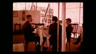 Breakfast aboard the Imperial Airways service barge 1937 Stock Footage