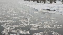 Drifting ice on Elbe River, Flusslandschaft Elbe Biosphere Reserve, Germany Stock Footage