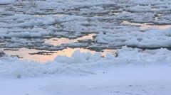 Drifting ice on Elbe River, Flusslandschaft Elbe Biosphere Reserve, Germany - stock footage