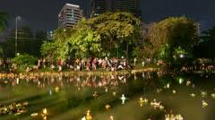 Timelapse of Loy Krathong festival, Bangkok Stock Footage