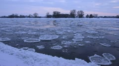 Drifting ice on Elbe River, Flusslandschaft Elbe Biosphere Reserve, Germany Stock Footage