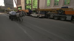 Street traffic in Alexandria horse and buggy Stock Footage