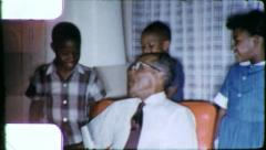 BLACK GRANDFATHER Grand Children African American Vintage Film Home Movie 6266 Stock Footage