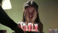 Birthday girl and cake with candles 3 Stock Footage