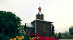 Small Russian church in the village Stock Footage