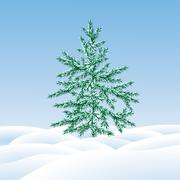 Stock Illustration of christmas tree fir  on  a snow glade