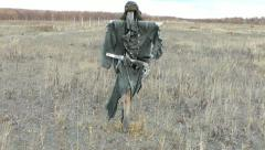 Effigy in the airfield, dressed in military Soviet clothes, reminds of cold war Stock Footage