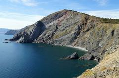 Coastal cliff over the Mediterranean sea - stock photo