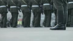 Soldiers march in the ranks Stock Footage