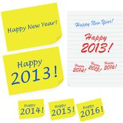 Happy new year notes Stock Illustration