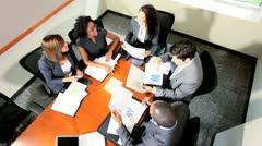 Overhead Multi Ethnic Focus Group Future Planning Stock Footage
