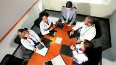 Five Multi Ethnic Medical Executives Team Meeting Stock Footage