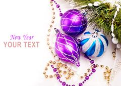new year background with decoration balls - stock illustration