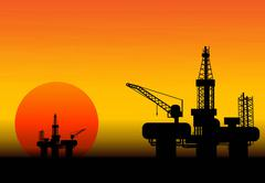 Stock Illustration of oil rig at late evening