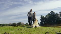 Attractive couple and their dog in the middle of a large open forest clearing - stock footage