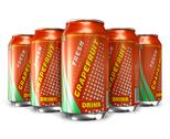 Stock Illustration of Set of grapefruit soda drinks in metal cans