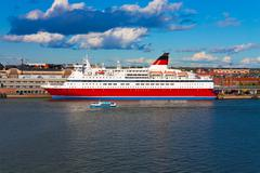 Big cruise liner docked in Helsinki port Stock Photos