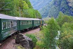 By the train across Scandinavian mountains - stock photo