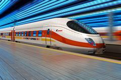 Moderni nopeita junia lähtee rautatieasemalta liikkeen epäterävyyttä Piirros