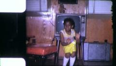 Little Black GIRL DANCES African American 1970s Vintage Film Home Movie 6306 Stock Footage
